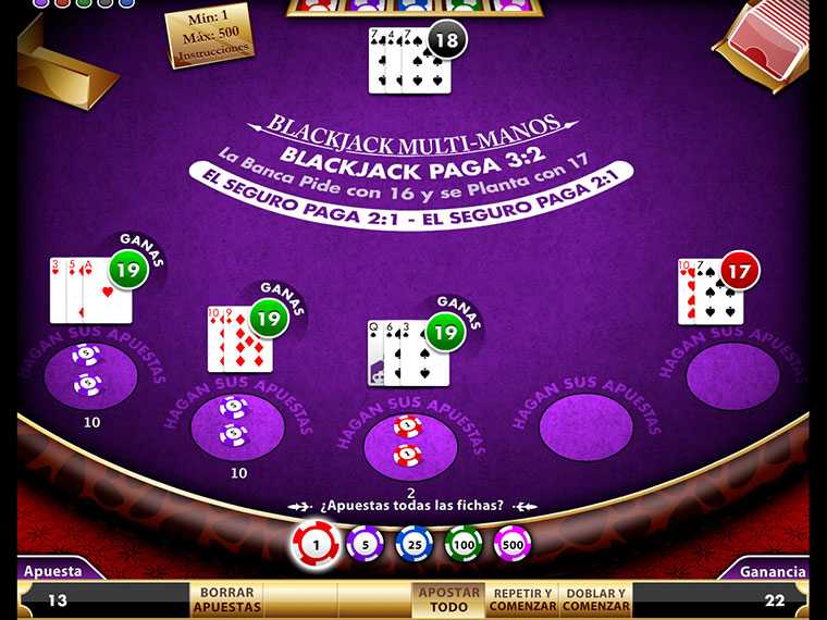 ¡Blackjack Multi Manos en acción!