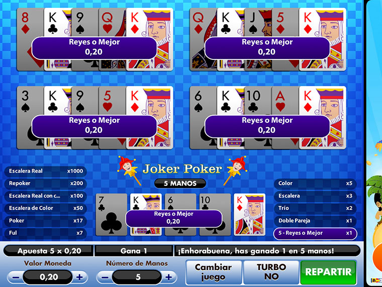 Juega Video Poker Joker Poker Online en Casino.com México